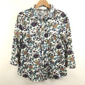 Eden Olivia Womens Button Front Shirt Floral